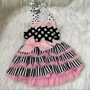 NEW Mud Pie tutu cut back black pink dress 0-6
